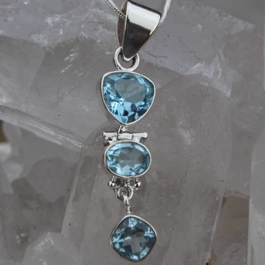 Blue Topaz 3 Piece Dangle