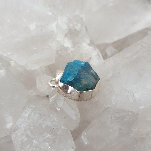 Blue Apatite Raw Pendant